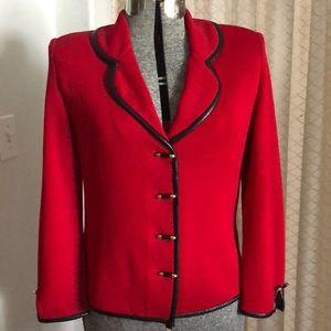 St. John Red Knit Blazer Black Leather Trim USA 6